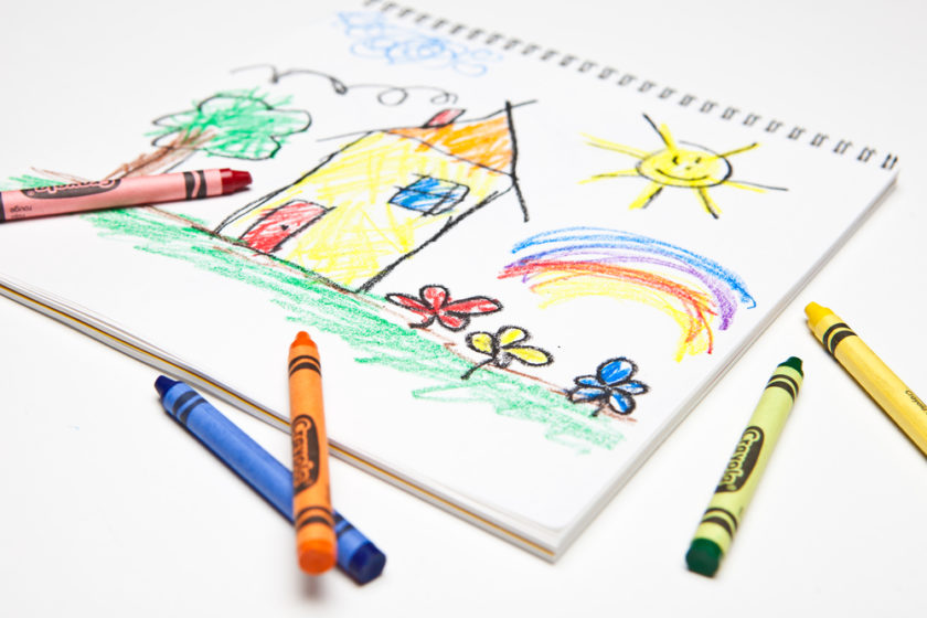 kids art drawing with crayons