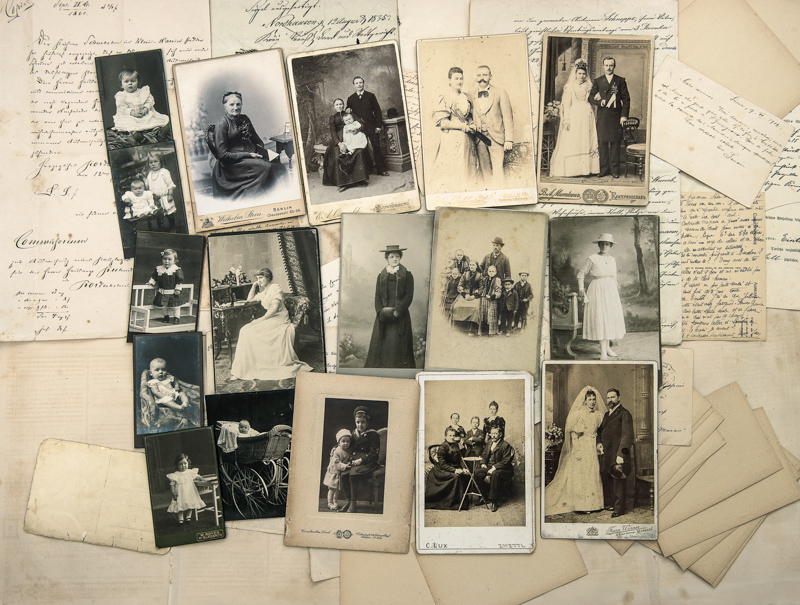 Vintage photos and letters for digital scanning and restoration
