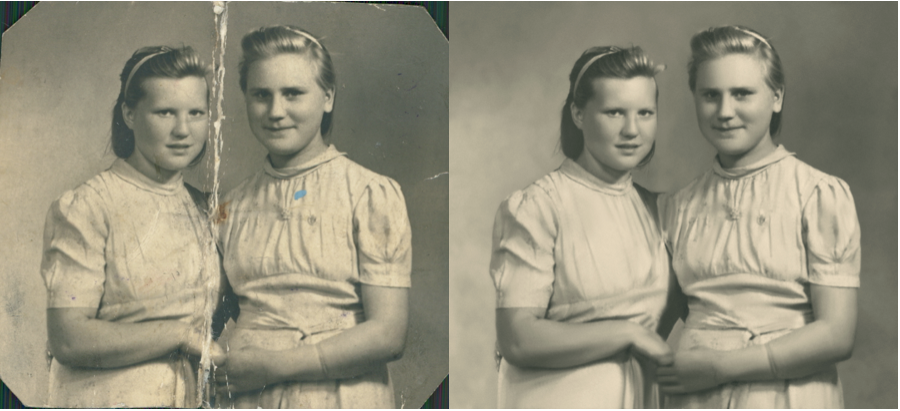 Before and After of Digital Photo Restoration Calgary
